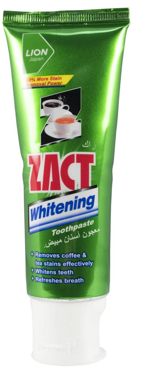 LionThailand Zact Паста зубная отбеливающая, 100 гр805064Страдаете от табачного и кофейного налета на зубах? Зубная паста Zact способна решить эту проблему., Паста с инновационной формулой NZS с ионами флюорита эффективно очищает зубы от кофейного и табачного налета., В пасте Zact на 60% больше очищающих компонентов, чем в других зубных пастах., За счет этого паста с каждой чисткой зубов преображает Вашу улыбку, делая зубы белее, а дыхание более свежим., Паста Zact предотвращает появление кариеса и дальнейшее потемнение зубной эмали., Рекомендуется для ежедневного ухода за полостью рта., Способ применения: чистить зубы не менее 3х минут, последовательно обрабатывая наружные, жевательные и внутренние поверхности всех зубов.,Меры предосторожности: при возникновении аллергической реакции прекратите использование средства и проконсультируйтесь со специалистом.,Способ хранения: хранить в прохладном сухом месте.,Состав: вторичнокислый фосфат кальция, оксид алюминия (чистящий/полирующий компонент), сорбитол, пропиленгликоль, натрий карбоксиметилцеллюлоза, лаурилсульфат натрия (пенообразующий компонент), полиэтиленгликоль (активный компонент), отдушка мяты перечной, сахарин натрия, бензонат натрия, парабен.,