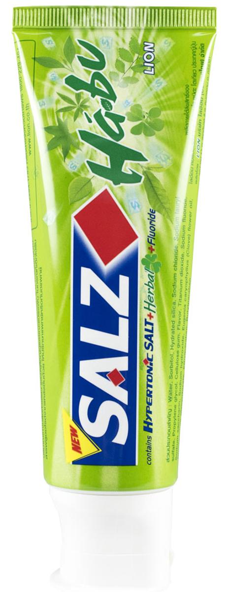 LionThailand Salz Habu Паста зубная, 90 гр015784Инновационная формула зубной пасты «All Protection» обеспечивает комплексную защиту и уход за полостью рта., Зубная паста Salz содержит несколько активных компонентов: гипертоническую соль, коэнзим Q10 и фтор, а также Habunochikara - эфирное масло японского растения для защиты полости рта и устранения неприятного запаха., Прекрасно освежает дыхание.,-Натуральный эфирный экстракт (Habunochikara) способствует профилактике заболеваний полости рта, повышая здоровье зубов и десен., -Концентрированное содержание гипертонической соли укрепляет десна и уменьшает количество бактерий, которые являются причиной появления неприятного запаха изо рта.,-Коэнзим Q10, являясь антиоксидантом, надежно защищает полость рта и десна., -Фтор предупреждает развитие кариеса и улучшает состояние зубной эмали., Способ применения: чистить зубы не менее 3х минут, последовательно обрабатывая наружные, жевательные и внутренние поверхности всех зубов.,Меры предосторожности: хранить в недоступном для детей месте., Способ хранения: хранить в прохладном сухом месте.,Состав: вода, сорбитол, гидратированный диоксид кремния, лаурилсульфат натрия, пропилен гликоль, целлюлозная камедь, диоксид титана, фторид натрия (менее 0,15%), убихинон (Q10), сахарин натрия, гидроксид натрия, масло цветков гвоздичного дерева, эфирный экстракт (Habunochikara), дикалия глицирризат.,