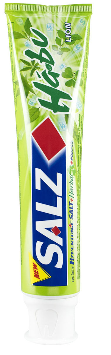 LionThailand Salz Habu Паста зубная, 160 гр015807Инновационная формула зубной пасты «All Protection» обеспечивает комплексную защиту и уход за полостью рта., Зубная паста Salz содержит несколько активных компонентов: гипертоническую соль, коэнзим Q10 и фтор, а также Habunochikara - эфирное масло японского растения для защиты полости рта и устранения неприятного запаха., Прекрасно освежает дыхание.,-Натуральный эфирный экстракт (Habunochikara) способствует профилактике заболеваний полости рта, повышая здоровье зубов и десен., -Концентрированное содержание гипертонической соли укрепляет десна и уменьшает количество бактерий, которые являются причиной появления неприятного запаха изо рта.,-Коэнзим Q10, являясь антиоксидантом, надежно защищает полость рта и десна., -Фтор предупреждает развитие кариеса и улучшает состояние зубной эмали., Способ применения: чистить зубы не менее 3х минут, последовательно обрабатывая наружные, жевательные и внутренние поверхности всех зубов.,Меры предосторожности: хранить в недоступном для детей месте., Способ хранения: хранить в прохладном сухом месте.,Состав: вода, сорбитол, гидратированный диоксид кремния, лаурилсульфат натрия, пропилен гликоль, целлюлозная камедь, диоксид титана, фторид натрия (менее 0,15%), убихинон (Q10), сахарин натрия, гидроксид натрия, масло цветков гвоздичного дерева, эфирный экстракт (Habunochikara), дикалия глицирризат.,
