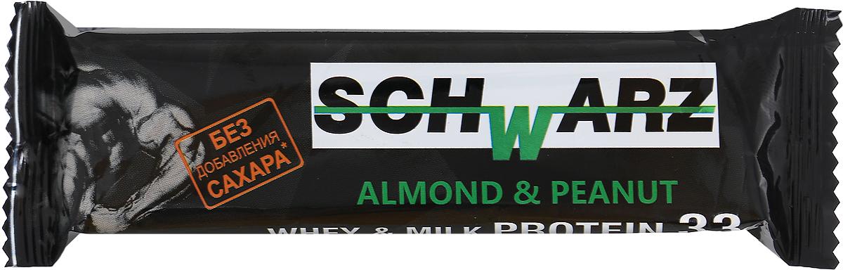 Schwarz Батончик со вкусом Миндаль и арахис с высоким содержанием протеина 33%, 50 г арахис farm production for 500g