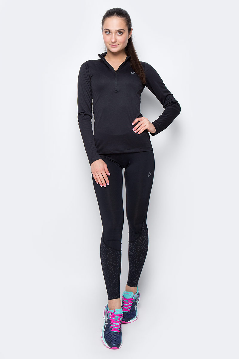 Лонгслив женский Asics LS 1/2 Zip Top, цвет: черный. 134108-0904. Размер XS (42) лонгслив для бега женский asics ess winter 1 2 zip цвет черный 134109 0904 размер xs 40 42