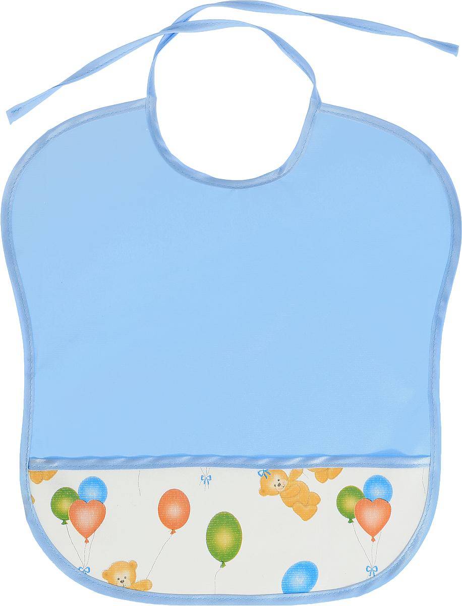 Колорит Нагрудник с карманом Мишки с шариками цвет голубой белый 33 х 33 см