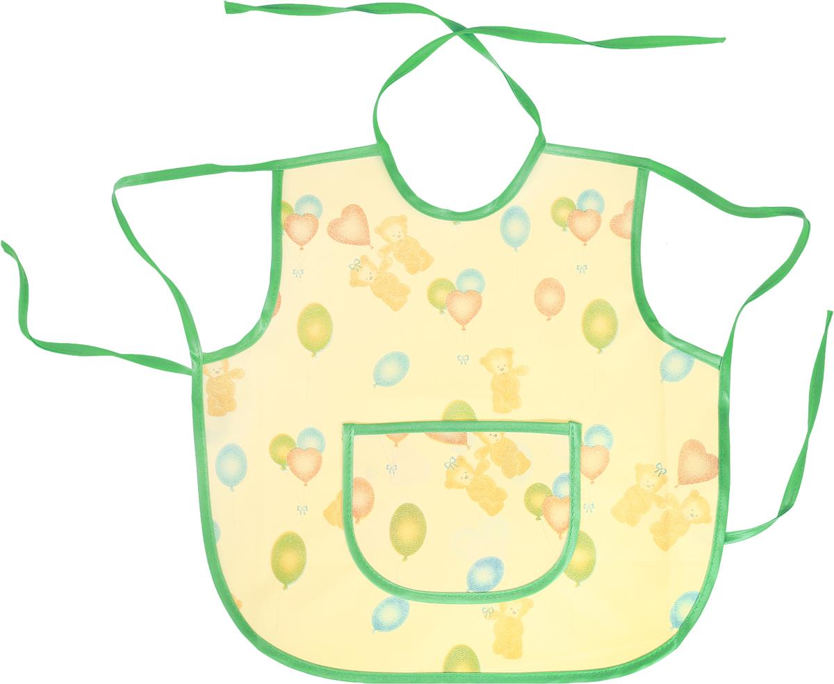 Колорит Фартук защитный Мишки с шариками цвет зеленый желтый 36 х 36 см0071_зеленый, желтый фонЗащитный фартук Колорит Мишки с шариками с непромокаемым слоем защитит одежду малыша и освободит родителей от дополнительных хлопот.Фартук на завязках - выбор практичных мамочек, так как им можно пользоваться более длительное время. Пока ваш малыш растет, благодаря завязкам вы сможете легко контролировать длину изделия и регулировать размер горловины. Фартук изготовлен из клеенки подкладной с ПВХ покрытием и дополнен широким карманом. Лицевая сторона оформлена забавным изображением.