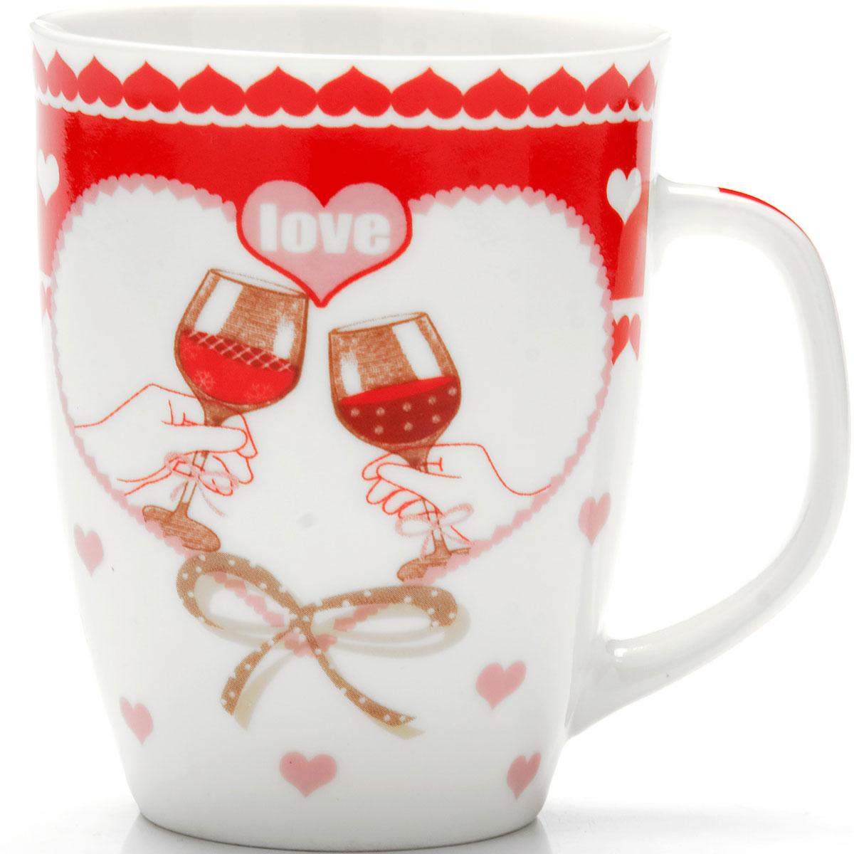Кружка Loraine Love, 340 мл. 2597425974Кружка изготовлена из высококачественной керамики и украшена дизайнерским рисунком. Посуда из этого материала позволяет максимально сохранить полезные свойства и вкусовые качества воды.Объем кружки: 340 мл.Диаметр кружки: 8 см.