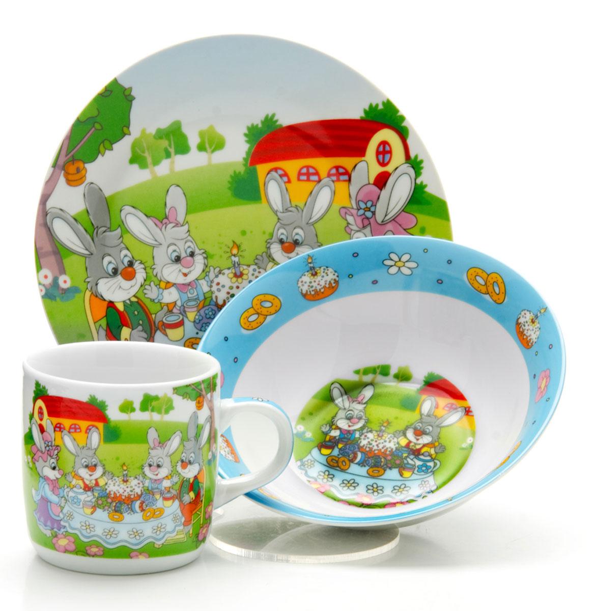 Набор детской посуды Loraine Зайчики, 3 предмета набор посуды loraine фея lr 24026 3 предмета детский