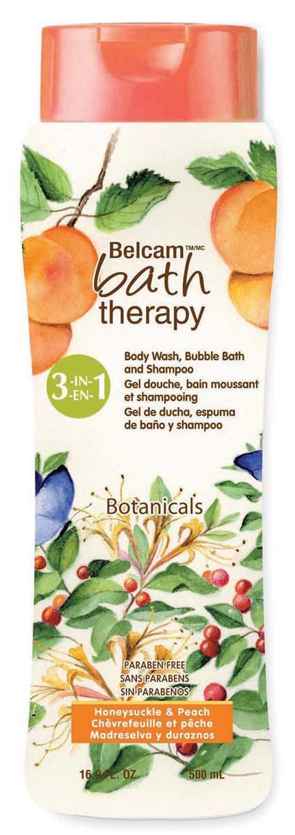 Bath Therapy Шампунь, Гель Для Душа, Пена Для Ванны «Жимолость и персик» 3-в-1, 500 мл. гели bath therapy гель для душа шампунь для детей взрывной апельсин 2 в 1 new