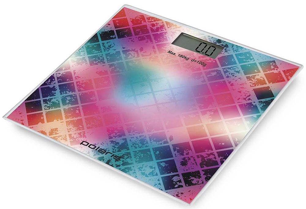 Polaris PWS 1853DG Mosaic напольные весы7231Polaris PWS 1853DG - напольные весы, выполненные в стильном дизайне. Одновременно с этим вас удивит и функциональность данного устройства: теперь вы легко сможете контролировать свой вес, а значит, вести здоровый образ жизни. Для вашего удобства в весах предусмотрена возможность с высокой точностью определять массу тела в килограммах, фунтах и унциях.Платформа данной модели выполнена из высокопрочного закаленного стекла, что позволит использовать весы годами и не переживать за их сохранность. Максимально допустимый вес - 180 кг. Все данные отобразятся на удобном жидкокристаллическом дисплее. Для того, чтобы сохранить заряд батареи в весах используется функция автоматического отключения.