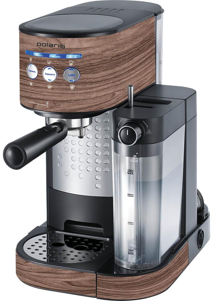 Polaris PCM 1523E Adore Cappuccino кофеварка7732Кофеварка Polaris PCM 1523E Adore Cappuccino предназначена для приготовления кофе из предварительно размолотых зёрен путём прохождения под давлением нагретой питьевой воды через слой молотого кофе, находящегося в фильтре. Она поможет не только проснуться, но получить отличный заряд бодрости на весь день.Polaris PCM 1523E - совершенство технологий и стиля: давление в 15 бар идеально подходит для созданиякофе с интенсивным ароматом. А благодаря компактному размеру, стильному матовому покрытию и мягкой подсветке кнопок кофеварка станет украшением вашей кухни.Как выбрать кофеварку. Статья OZON Гид