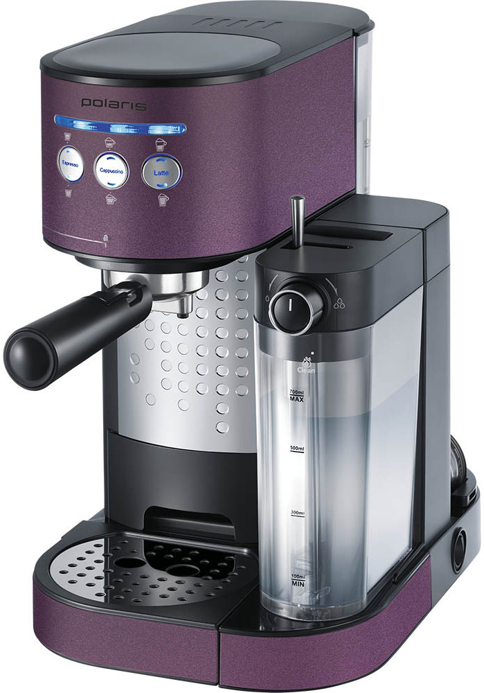 Polaris PCM 1525E Adore Cappuccino кофеварка7733Кофеварка Polaris PCM 1525E Adore Cappuccino предназначена для приготовления кофе из предварительно размолотых зёрен путём прохождения под давлением нагретой питьевой воды через слой молотого кофе, находящегося в фильтре. Она поможет не только проснуться, но получить отличный заряд бодрости на весь день.Polaris PCM 1525E - совершенство технологий и стиля: давление в 15 бар идеально подходит для созданиякофе с интенсивным ароматом. А благодаря компактному размеру, стильному матовому покрытию и мягкой подсветке кнопок кофеварка станет украшением вашей кухни.