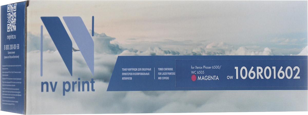 NV Print 106R01602, Magenta тонер-картридж для Xerox Phaser 6500/WorkCentre 6505NV-106R01602MСовместимый лазерный картридж NV Print 106R01602M для печатающих устройств Xerox Phaser 6500/WorkCentre 6505 - это альтернатива приобретению оригинальных расходных материалов. При этом качество печати остается высоким. Тонер картриджи NV Print, спроектированные и разработанные с применением передовых технологий, наилучшим образом приспособлены для эффективной работы печатного устройства. Все компоненты оптимизируют процесс печати и идеально сочетаются в течение всего времени работы, что дает вам неизменно качественные результаты при использовании вашего лазерного принтера.Лазерные принтеры, копировальные аппараты и МФУ являются более выгодными в печати, чем струйные устройства, так как лазерных картриджей хватает на значительно большее количество отпечатков, чем обычных. Для печати в данном случае используются не чернила, а тонер.