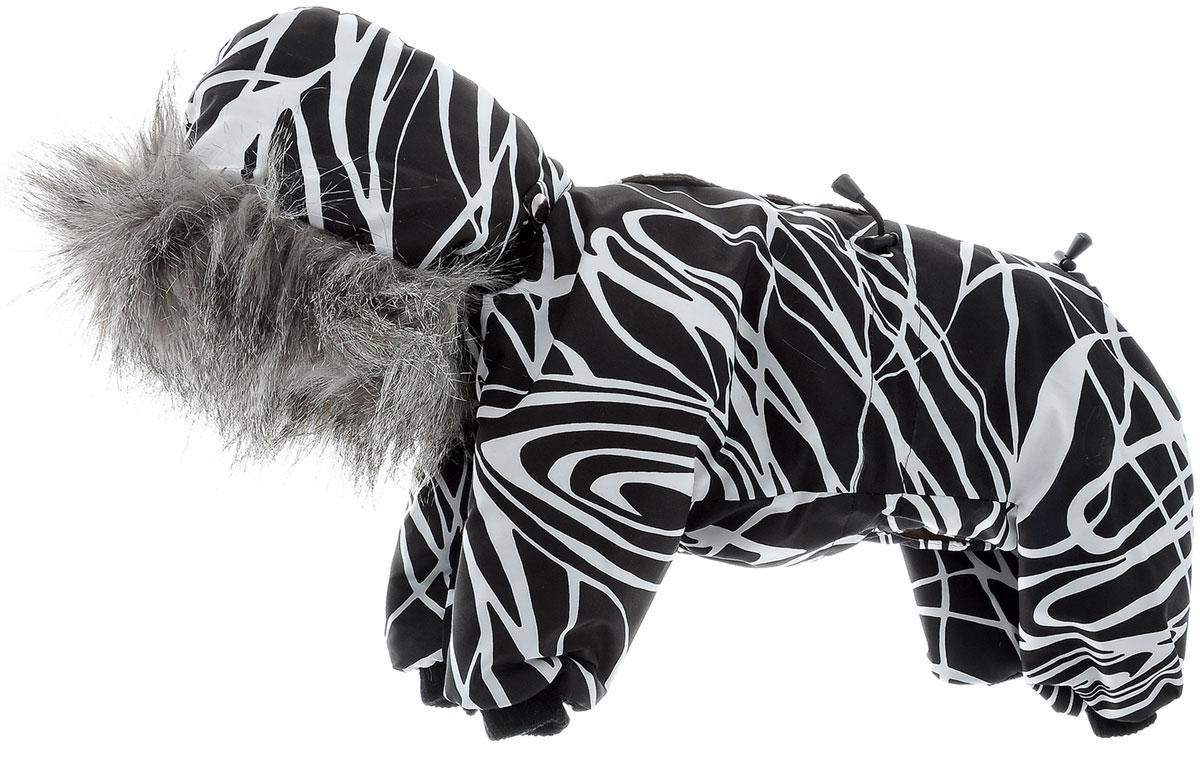 Комбинезон для собак Kuzer-Moda, зимний, унисекс, цвет: черный, белый. Размер MKZ003199Зимний комбинезон для собак Kuzer-Moda отлично подойдет для прогулок в холодное время года.Комбинезон изготовлен из полиэстера, защищающего от ветра и снега, с утеплителем из синтепона, который сохранит тепло даже в сильные морозы. Комбинезон с капюшоном застегивается на кнопки и липучки, благодаря чему его легко надевать и снимать. Капюшон пристегивается при помощи кнопок, дополнен искусственным мехом. Низ рукавов и брючин оснащен трикотажными манжетами, которые мягко обхватывают лапки, не позволяя просачиваться холодному воздуху. На пояснице комбинезон затягивается на шнурок-кулиску.Благодаря такому комбинезону простуда не грозит вашему питомцу.Длина по спинке 31 см.Одежда для собак: нужна ли она и как её выбрать. Статья OZON Гид