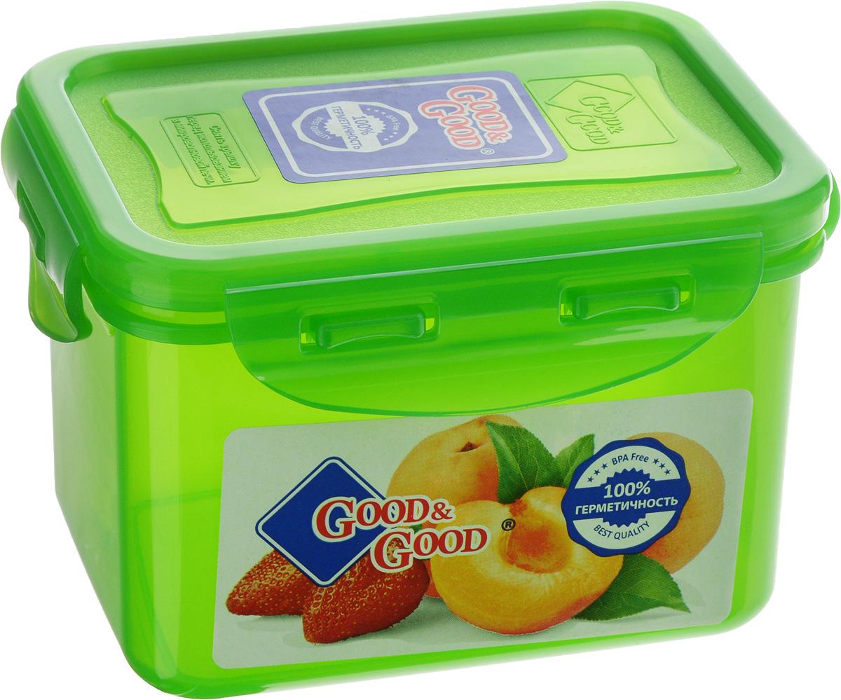 Контейнер пищевой Good&Good, цвет: зеленый, 630 мл02-2/COLORS_зеленыйПрямоугольный контейнер Good&Good изготовлен из высококачественного полипропилена и предназначен для хранения любых пищевых продуктов. Благодаря особым технологиям изготовления, лотки в течение времени службы не меняют цвет и не пропитываются запахами. Крышка с силиконовой вставкой герметично защелкивается специальным механизмом. Контейнер Good&Good удобен для ежедневного использования в быту.Можно мыть в посудомоечной машине и использовать в микроволновой печи.Размер контейнера (с учетом крышки): 13 х 10 х 8,5 см.