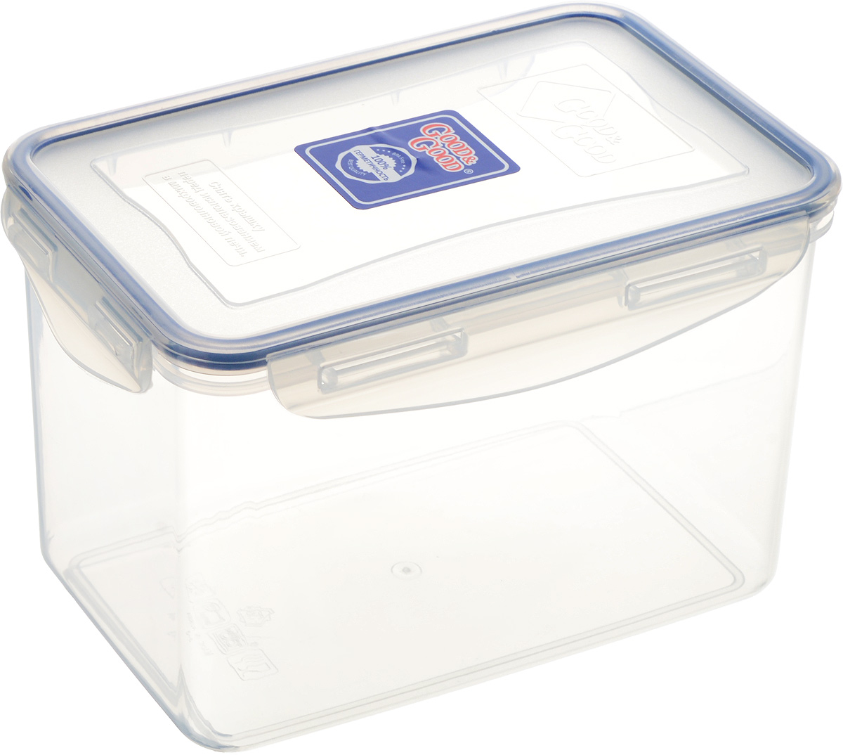 Контейнер пищевой Good&Good, цвет: прозрачный, темно-синий, 2,2 л3-3_прозрачный, темно-синийПрямоугольный контейнер Good&Good изготовлен извысококачественного полипропилена и предназначен дляхранения любых пищевых продуктов. Благодаря особымтехнологиям изготовления, лотки в течение временислужбы не меняют цвет и не пропитываются запахами. Крышкас силиконовой вставкой герметично защелкиваетсяспециальным механизмом.Контейнер Good&Good удобен для ежедневногоиспользования в быту. Можно мыть в посудомоечной машине и использовать вмикроволновой печи. Размер контейнера (с учетом крышки): 20 х 13,5 х 13 см.