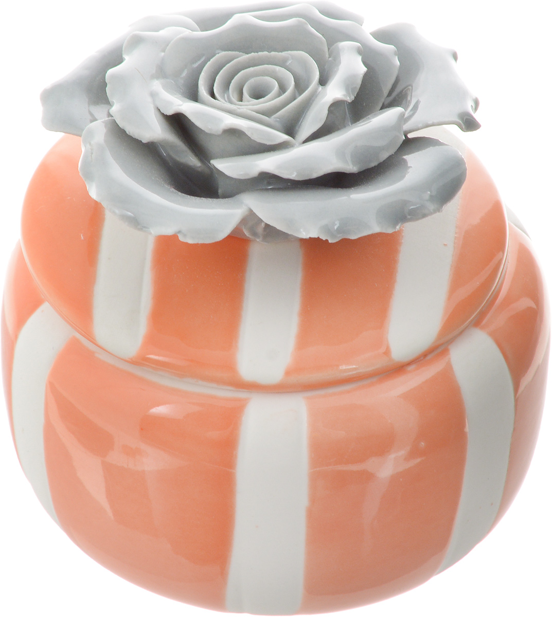 Шкатулка для украшений Феникс-Презент, цвет: оранжевый, серый, белый, 6,5 х 6,5 х 6,5 см43830Шкатулка Феникс-Презент предназначена для украшений. Изделие изготовлено из фарфора. Крышка шкатулки украшена розой серого цвета. Вы можете поставить шкатулку в любом месте, где она будет удачно смотреться и радовать глаз. Кроме того - это отличный вариант подарка для ваших близких и друзей. Размер шкатулки: 6,5 х 6,5 х 6,5 см.