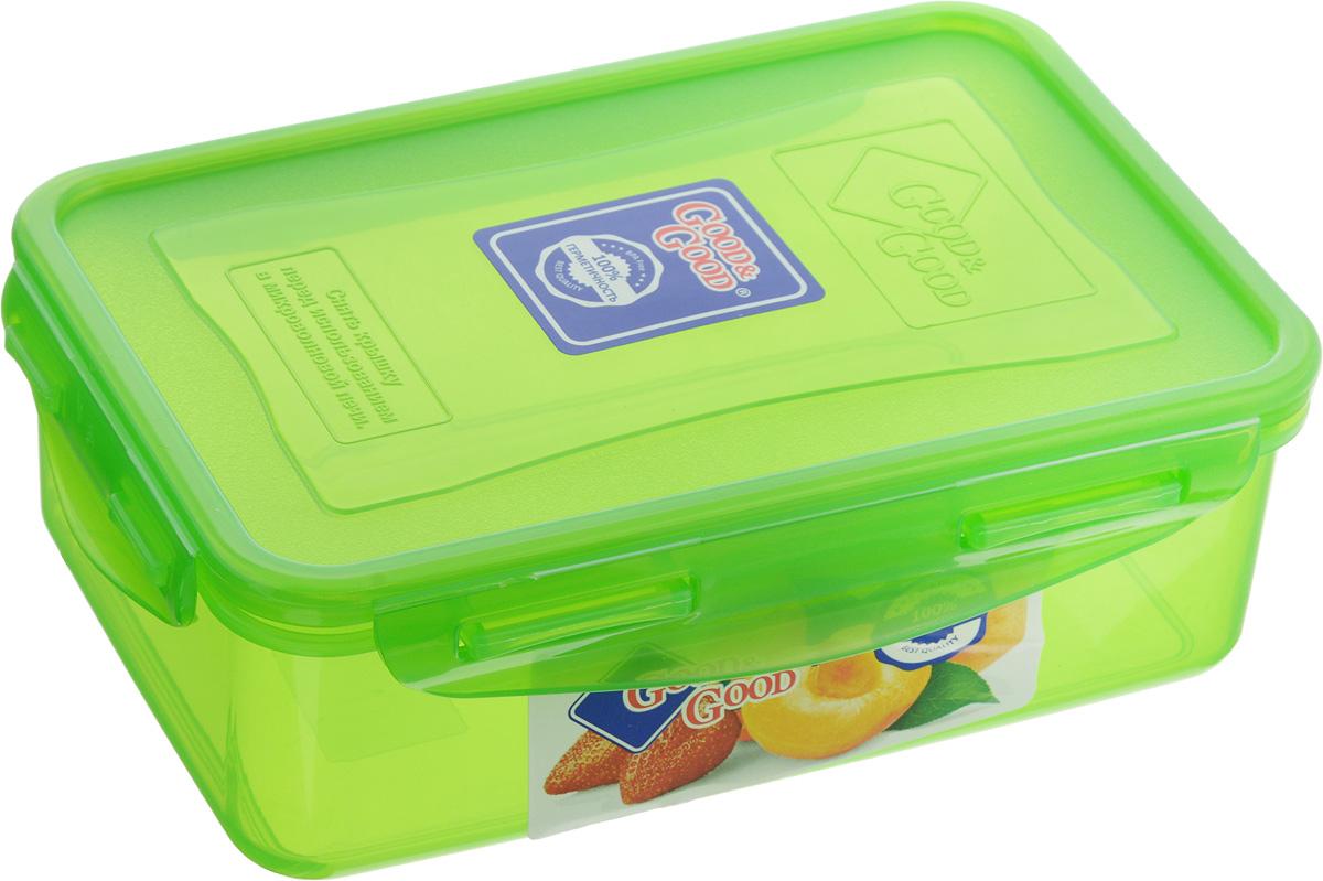 Контейнер пищевой Good&Good, цвет: зеленый, 1,1 л3-1/COLORS_зеленыйПрямоугольный контейнер Good&Good изготовлен из высококачественного полипропилена и предназначен для хранения любых пищевых продуктов. Благодаря особым технологиям изготовления, лотки в течение времени службы не меняют цвет и не пропитываются запахами. Крышка с силиконовой вставкой герметично защелкивается специальным механизмом. Контейнер Good&Good удобен для ежедневного использования в быту.Можно мыть в посудомоечной машине и использовать в микроволновой печи.Размер контейнера (с учетом крышки): 20 х 13,5 х 6,5 см.