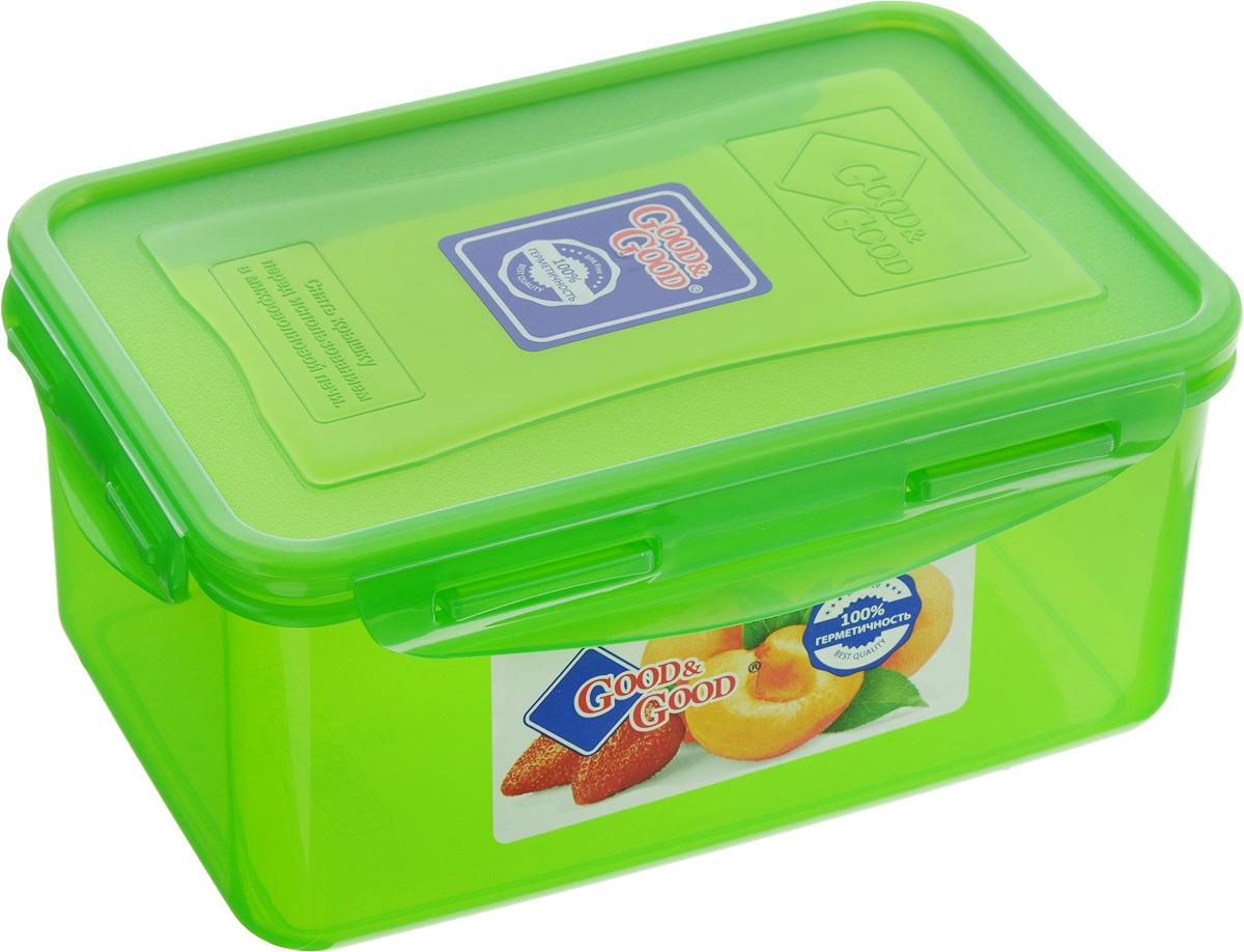 Контейнер для пищевых продуктов Good&Good, цвет: зеленый, 1,5 л3-2/COLORS_зеленыйКонтейнер Good&Good, изготовленный из высококачественного полипропилена, предназначен для хранения любых пищевых продуктов. Крышка с силиконовой вставкой герметично защелкивается специальным механизмом. Изделие устойчиво к воздействию масел и жиров, легко моется. Контейнер имеет возможность хранения продуктов глубокой заморозки, обладает высокой прочностью. Контейнер Good&Good удобен для ежедневного использования в быту.Можно мыть в посудомоечной машине и использовать в холодильнике и микроволновой печи.Размер контейнера (с учетом крышки): 13,5 х 20 х 9 см.