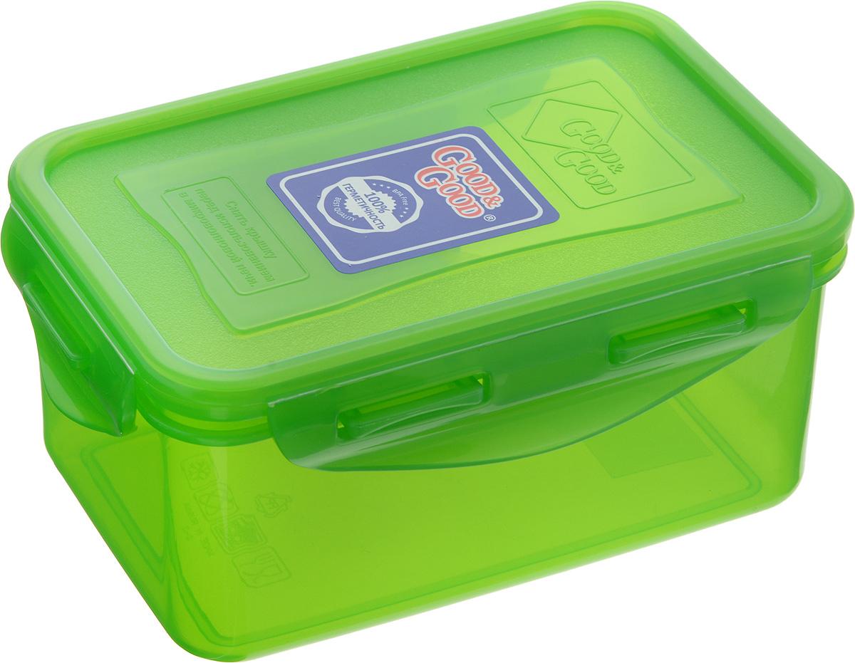 Контейнер пищевой Good&Good, цвет: зеленый, 800 мл2-2/COLORS_зеленыйПрямоугольный контейнер Good&Good изготовлен из высококачественного полипропилена и предназначен для хранения любых пищевых продуктов. Благодаря особым технологиям изготовления, лотки в течение времени службы не меняют цвет и не пропитываются запахами. Крышка с силиконовой вставкой герметично защелкивается специальным механизмом. Контейнер Good&Good удобен для ежедневного использования в быту.Можно мыть в посудомоечной машине и использовать в микроволновой печи.Размер контейнера (с учетом крышки): 16 х 11 х 7,5 см.