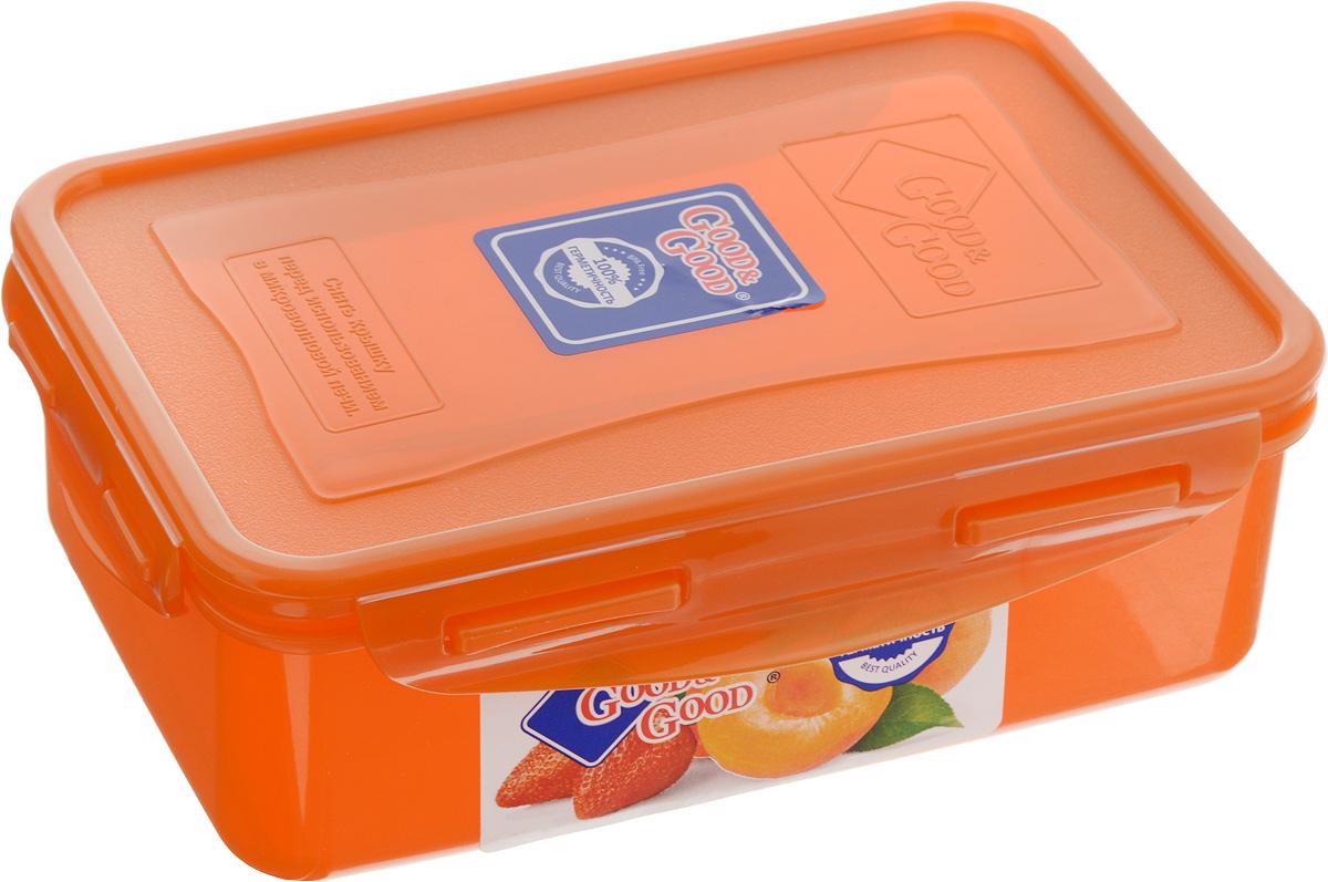 Контейнер пищевой Good&Good, цвет: оранжевый, 1,1 л3-1/COLORS_оранжевыйПрямоугольный контейнер Good&Good изготовлен из высококачественного полипропилена и предназначен для хранения любых пищевых продуктов. Благодаря особым технологиям изготовления, лотки в течение времени службы не меняют цвет и не пропитываются запахами. Крышка с силиконовой вставкой герметично защелкивается специальным механизмом. Контейнер Good&Good удобен для ежедневного использования в быту.Можно мыть в посудомоечной машине и использовать в микроволновой печи.Размер контейнера (с учетом крышки): 20 х 13,5 х 6,5 см.