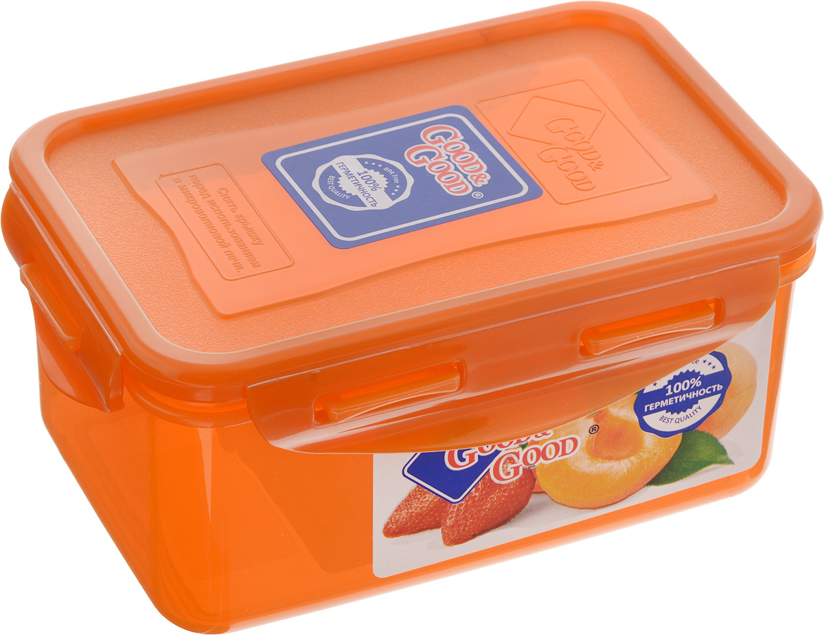 """Прямоугольный контейнер """"Good&Good"""" изготовлен из  высококачественного полипропилена и предназначен для  хранения любых пищевых продуктов. Благодаря особым  технологиям изготовления, лотки в течение времени  службы не меняют цвет и не пропитываются запахами. Крышка  с силиконовой вставкой герметично защелкивается  специальным механизмом.  Контейнер """"Good&Good"""" удобен для ежедневного  использования в быту. Можно мыть в посудомоечной машине и использовать в  микроволновой печи. Размер контейнера (с учетом крышки): 16 х 11 х 7,5 см."""
