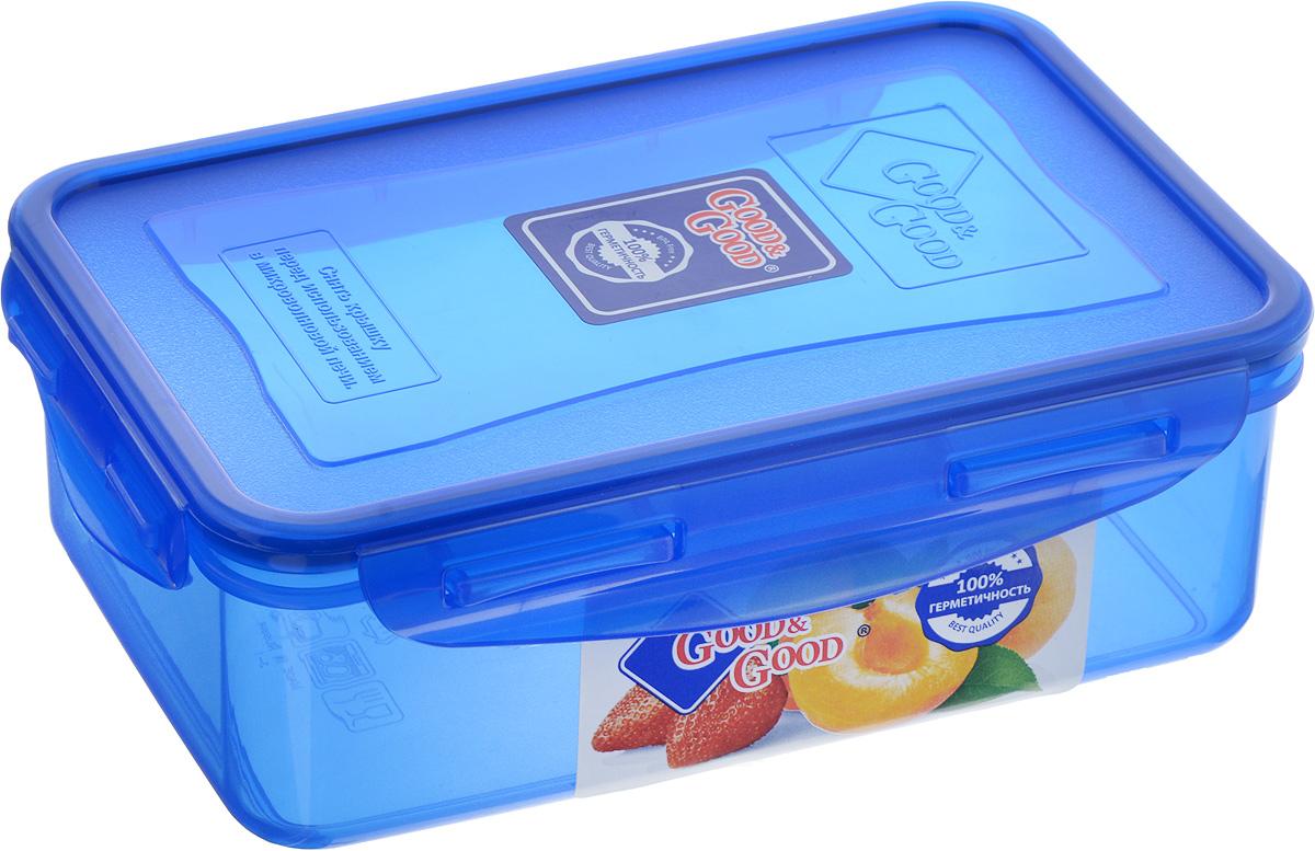 Контейнер пищевой Good&Good, цвет: синий, 1,1 л контейнер good