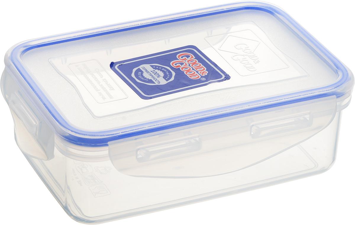 Контейнер пищевой Good&Good, цвет: прозрачный, темно-синий, 500 мл2-1Прямоугольный контейнер Good&Good изготовлен из высококачественного полипропилена и предназначен для хранения любых пищевых продуктов. Благодаря особым технологиям изготовления, лотки в течение времени службы не меняют цвет и не пропитываются запахами. Крышка с силиконовой вставкой герметично защелкивается специальным механизмом. Контейнер Good&Good удобен для ежедневного использования в быту.Можно мыть в посудомоечной машине и использовать в микроволновой печи.Размер контейнера (с учетом крышки): 16 х 11 х 5,5 см.