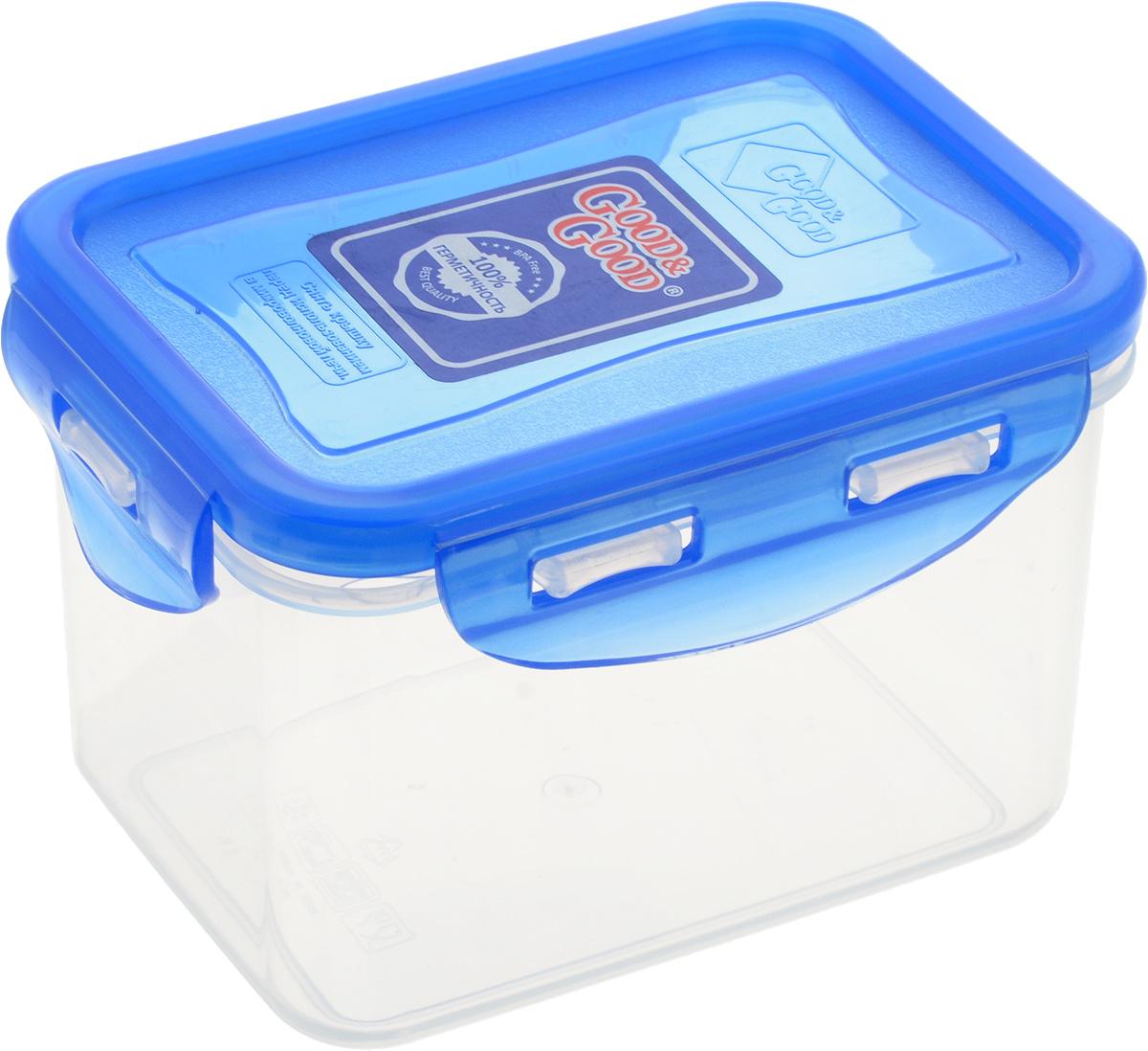 Контейнер пищевой Good&Good, цвет: прозрачный, синий, 630 мл02-2/LIDCOLПрямоугольный контейнер Good&Good изготовлен из высококачественного полипропилена и предназначен для хранения любых пищевых продуктов. Благодаря особым технологиям изготовления, лотки в течение времени службы не меняют цвет и не пропитываются запахами. Крышка с силиконовой вставкой герметично защелкивается специальным механизмом. Контейнер Good&Good удобен для ежедневного использования в быту.Можно мыть в посудомоечной машине и использовать в микроволновой печи.Размер контейнера (с учетом крышки): 13 х 10 х 8,5 см.