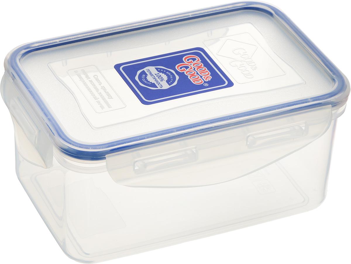 Контейнер пищевой Good&Good, цвет: прозрачный, темно-синий, 800 мл2-2_прозрачный, темно-синийПрямоугольный контейнер Good&Good изготовлен извысококачественного полипропилена и предназначен дляхранения любых пищевых продуктов. Благодаря особымтехнологиям изготовления, лотки в течение временислужбы не меняют цвет и не пропитываются запахами. Крышкас силиконовой вставкой герметично защелкиваетсяспециальным механизмом.Контейнер Good&Good удобен для ежедневногоиспользования в быту. Можно мыть в посудомоечной машине и использовать вмикроволновой печи. Размер контейнера (с учетом крышки): 16 х 11 х 7,5 см.