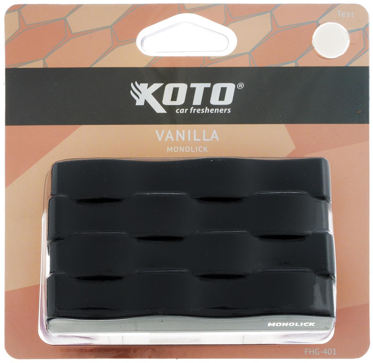 Ароматизатор автомобильный Koto Monolick. Vanilla, гелевый, 90 гFHG-401Автомобильный ароматизатор Koto Monolick. Vanilla эффективно устраняет неприятные запахи и придает приятный аромат. Сочетание геля с парфюмами наилучшего качества обеспечивает устойчивый запах. Кроме того, ароматизатор обладает элегантным дизайном. Благодаря специальной конструкции, изделие крепится на горизонтальную поверхность. Товар сертифицирован.