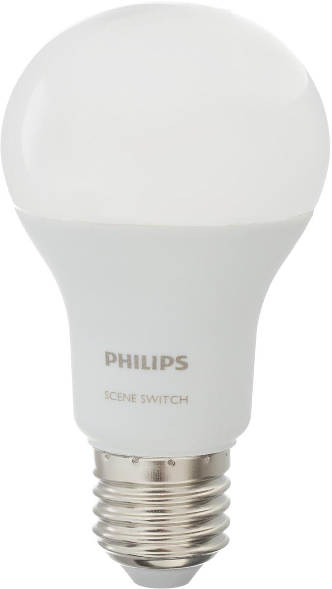 Лампа светодиодная Philips Scene Switch, цоколь E27, 9.5W, 3000K/6500К0822Лампа светодиодная Philips Scene Switch - это прекрасный выбор для освещения.Смена температуры света простым нажатием на переключатель порадует своей функциональностью и не потребует никакой дополнительной доработки. Если вы решили дома поработать или устроить уборку, что требует повышенной контрастности освещения, включите и выключите ваш переключатель, и при следующем включении лампа будет светить холодным светом (6500K), что идеально подходит для этих задач. Если вы желаете уюта теплого света, просто повторите процедуру, и лампа будет светить приятным теплым светом (3000K) для идеального отдыха. Светодиодные лампы потребляют на 84 % меньше электроэнергии, чем обычные лампы накаливания, излучая при этом привычный и приятный свет. Срок службы светодиодной лампы LED bulb составляет до 15 000 часов, что соответствует общему сроку службы пятнадцати ламп накаливания. Благодаря чему менять лампы приходится значительно реже, что сокращает количество отходов.Напряжение: 220-240 В. Световой поток: 806 lm.Эквивалент мощности в ваттах: 60 Вт.