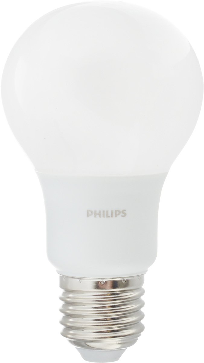 Лампа светодиодная Philips, цоколь E27, 7W, 3000КЛампа LEDBulb 7-60W E27 3000K 230VA60/PFСовременные светодиодные лампы Philips экономичны, имеют долгий срок службы и мгновенно загораются, заполняя комнату светом. Лампа классической формы и высокой яркости позволяет создать уютную и приятную обстановку в любой комнате вашего дома.Светодиодные лампы потребляют на 88 % меньше электроэнергии, чем обычные лампы накаливания, излучая при этом привычный и приятный теплый свет. Срок службы светодиодной лампы Philips составляет до 15 000 часов, что соответствует общему сроку службы 15 ламп накаливания. В результате менять лампы приходится значительно реже, что сокращает количество отходов.Напряжение: 220-240 В. Световой поток: 600 lm.Угол светового пучка: 270°.