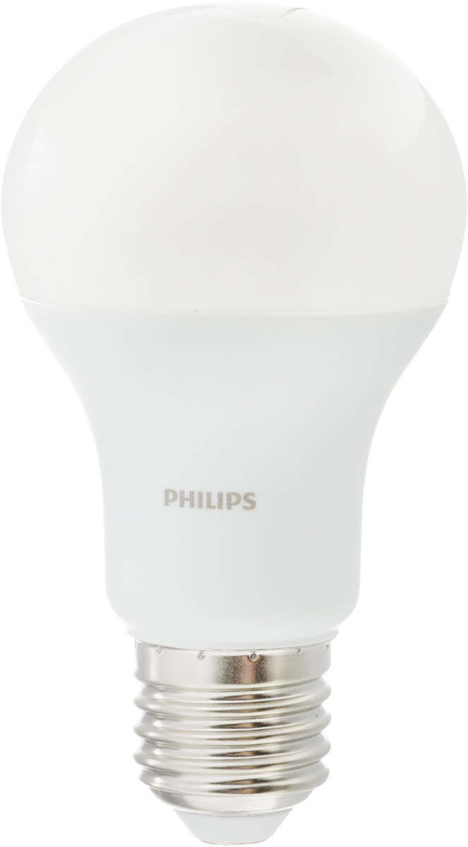 Лампа светодиодная Philips LED bulb, цоколь E27, 10,5W, 3000КЛампа LEDBulb 10.5-85WE273000K230VA60/PFСовременные светодиодные лампы Philips LED bulb экономичны, имеют долгий срок службы и мгновенно загораются, заполняя комнату светом. Лампа классической формы и высокой яркости позволяет создать уютную и приятную обстановку в любой комнате вашего дома.Светодиодные лампы потребляют на 87 % меньше электроэнергии, чем обычные лампы накаливания, излучая при этом привычный и приятный теплый свет. Срок службы светодиодной лампы Philips составляет до 15 000 часов, что соответствует общему сроку службы 15 ламп накаливания. В результате менять лампы приходится значительно реже, что сокращает количество отходов.Напряжение: 220-240 В. Световой поток: 1055 lm.Угол светового пучка: 270°.