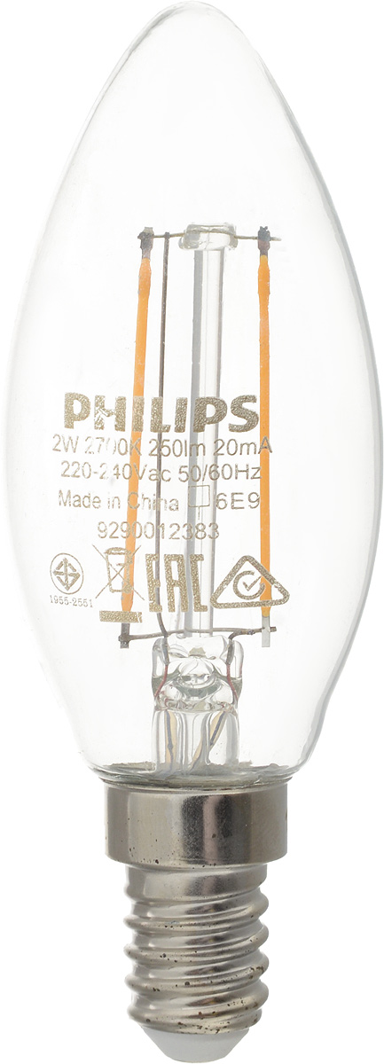 "Лампа светодиодная Philips ""LED candle"", цоколь E14, 2W, 2700K"