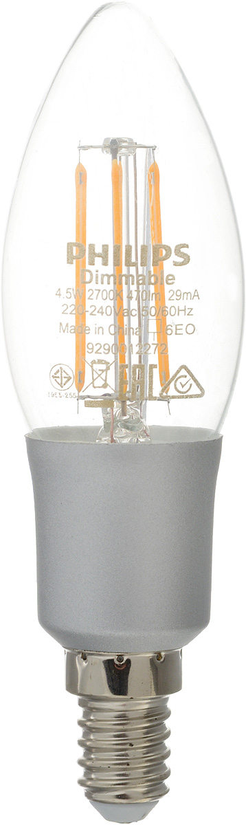 Лампа светодиодная Philips LED candle, цоколь E14, 4,5W, 2700K. 47514751Современные светодиодные лампы LED candle экономичны, имеют долгий срок службы и мгновенно загораются, заполняя комнату светом. Лампа формы свеча и высокой яркости позволяет создать уютную и приятную обстановку в любой комнате вашего дома.Светодиодные лампы потребляют до 91 % меньше электроэнергии, чем обычные лампы накаливания, излучая при этом привычный и приятный теплый свет. Срок службы светодиодной лампы LED candle составляет до 15 000 часов, что соответствует общему сроку службы пятнадцати ламп накаливания. Благодаря чему менять лампы приходится значительно реже, что сокращает количество отходов.Напряжение: 220-240 В. Световой поток: 470 lm.Эквивалент мощности в ваттах: 50 Вт.