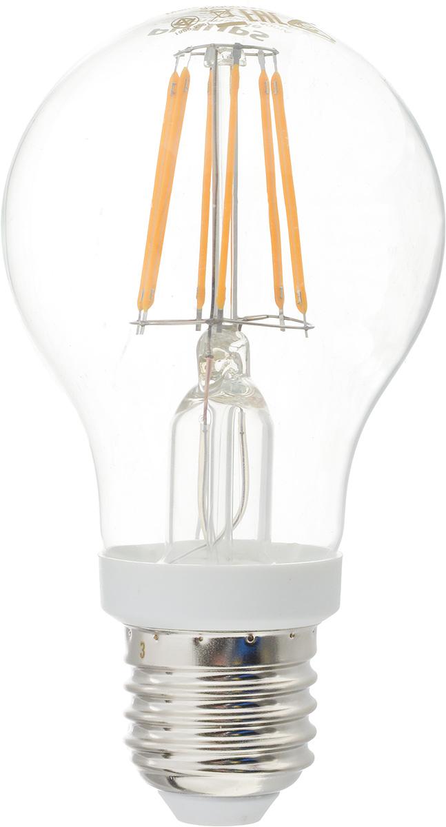 Лампа светодиодная Philips, цоколь E27, 7,5W, 2700КЛампа LEDClassic 7.5-70W A60 E27 WW CLСовременные светодиодные лампы Philips экономичны, имеют долгий срок службы и мгновенно загораются, заполняя комнату светом. Лампа классической формы и высокой яркости позволяет создать уютную и приятную обстановку в любой комнате вашего дома.Светодиодные лампы потребляют на 89 % меньше электроэнергии, чем обычные лампы накаливания, излучая при этом привычный и приятный теплый свет. Срок службы светодиодной лампы Philips составляет до 15 000 часов, что соответствует общему сроку службы 15 ламп накаливания. В результате менять лампы приходится значительно реже, что сокращает количество отходов.Напряжение: 220-240 В. Световой поток: 806 lm.Угол светового пучка: 270°.