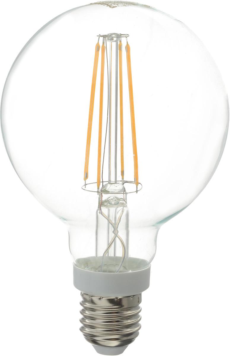 Лампа светодиодная Philips LED bulb, цоколь E27, 7W, 2700KЛампа LEDClassic 7-70W G93 E27 WW CL DСовременные светодиодные лампы LED bulb экономичны, имеют долгий срок службы и мгновенно загораются, заполняя комнату светом. Лампа классической формы и высокой яркости позволяет создать уютную и приятную обстановку в любой комнате вашего дома.Светодиодные лампы потребляют на 90 % меньше электроэнергии, чем обычные лампы накаливания, излучая при этом привычный и приятный теплый свет. Срок службы светодиодной лампы LED bulb составляет до 15 000 часов, что соответствует общему сроку службы пятнадцати ламп накаливания. Благодаря чему менять лампы приходится значительно реже, что сокращает количество отходов.Напряжение: 220-240 В. Световой поток: 806 lm.Эквивалент мощности в ваттах: 70 Вт.