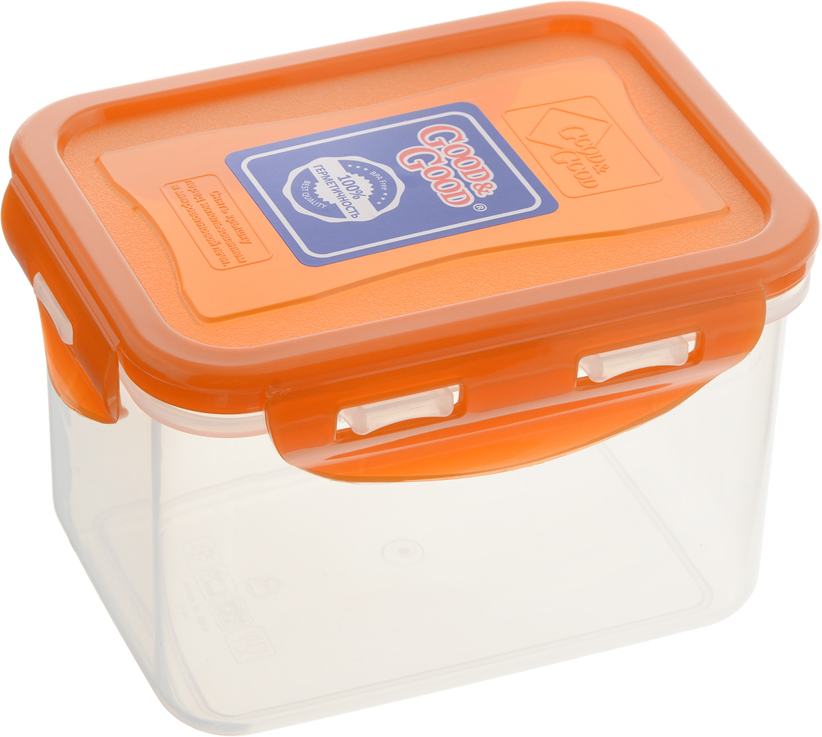 Контейнер пищевой Good&Good, цвет: прозрачный, оранжевый, 630 мл61448_фиолетовыйПрямоугольный контейнер Good&Good изготовлен извысококачественного полипропилена и предназначен дляхранения любых пищевых продуктов. Благодаря особымтехнологиям изготовления, лотки в течение временислужбы не меняют цвет и не пропитываются запахами. Крышкас силиконовой вставкой герметично защелкиваетсяспециальным механизмом.Контейнер Good&Good удобен для ежедневногоиспользования в быту. Можно мыть в посудомоечной машине и использовать вмикроволновой печи. Размер контейнера (с учетом крышки): 13 х 10 х 8,5 см.