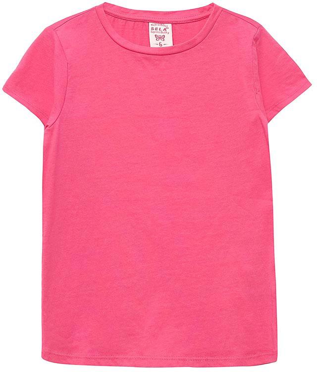 Футболка для девочки Sela, цвет: ярко-розовый. Ts-511/318-7142. Размер 116, 6 лет блузка для девочки sela цвет белый bs 512 273 7284 размер 116 6 лет