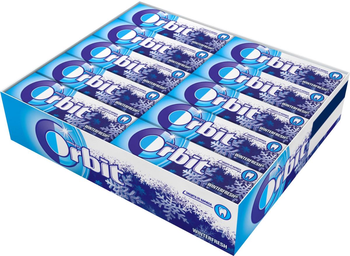 Orbit Winterfresh жевательная резинка без сахара, 30 пачек по 13,6 г dirol жевательная резинка арбузно дынный коктейль без сахара 30 пачек по 13 6 г