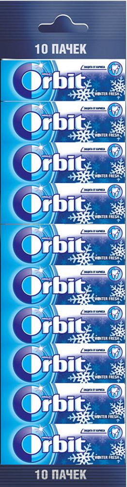 Orbit Winterfresh жевательная резинка без сахара, 10 пачек по 13,6 г4009900394390Жевательная резинка Orbit Зимняя свежесть без сахара способствует поддержанию здоровья зубов: удаляет остатки пищи, способствует уменьшению зубного налета, нейтрализует вредные кислоты, усиливает процесс реминерализации эмали.Употребление жевательной резинки каждый раз после еды способствует поддержанию чистоты и здоровья зубов в дополнение к уходу за ротовой полостью с помощью зубной щетки.