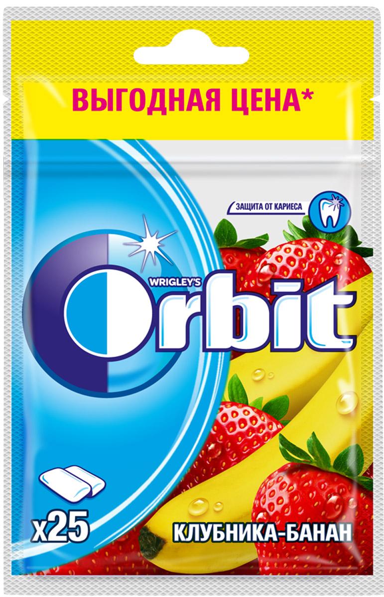 Orbit Клубника-Банан жевательная резинка без сахара в пакете, 25 драже orbit спелая клубника леденцы 35 г