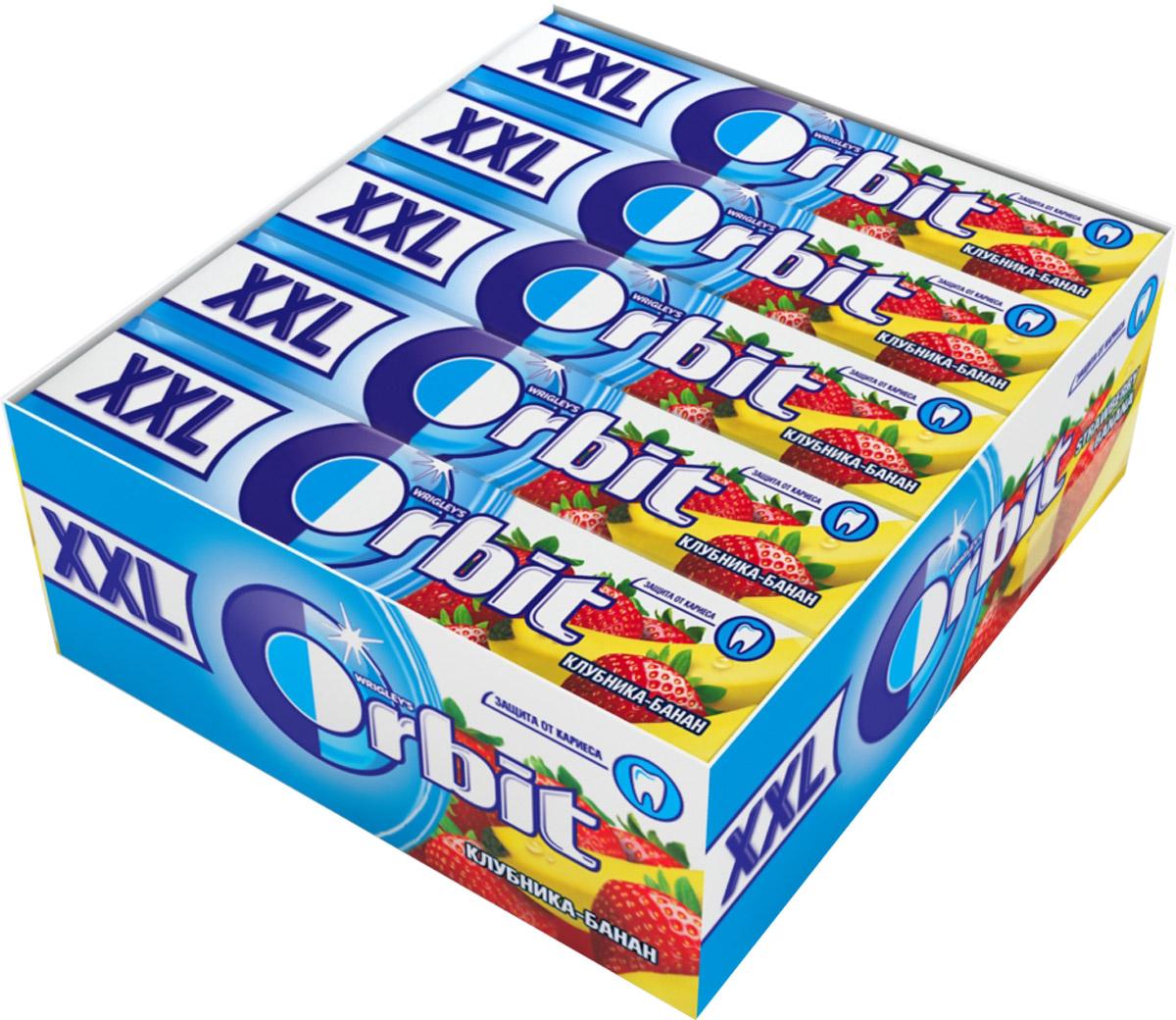 Orbit XXL Клубника-банан жевательная резинка без сахара, 20 пачек по 20,4 г orbit спелая клубника леденцы 35 г