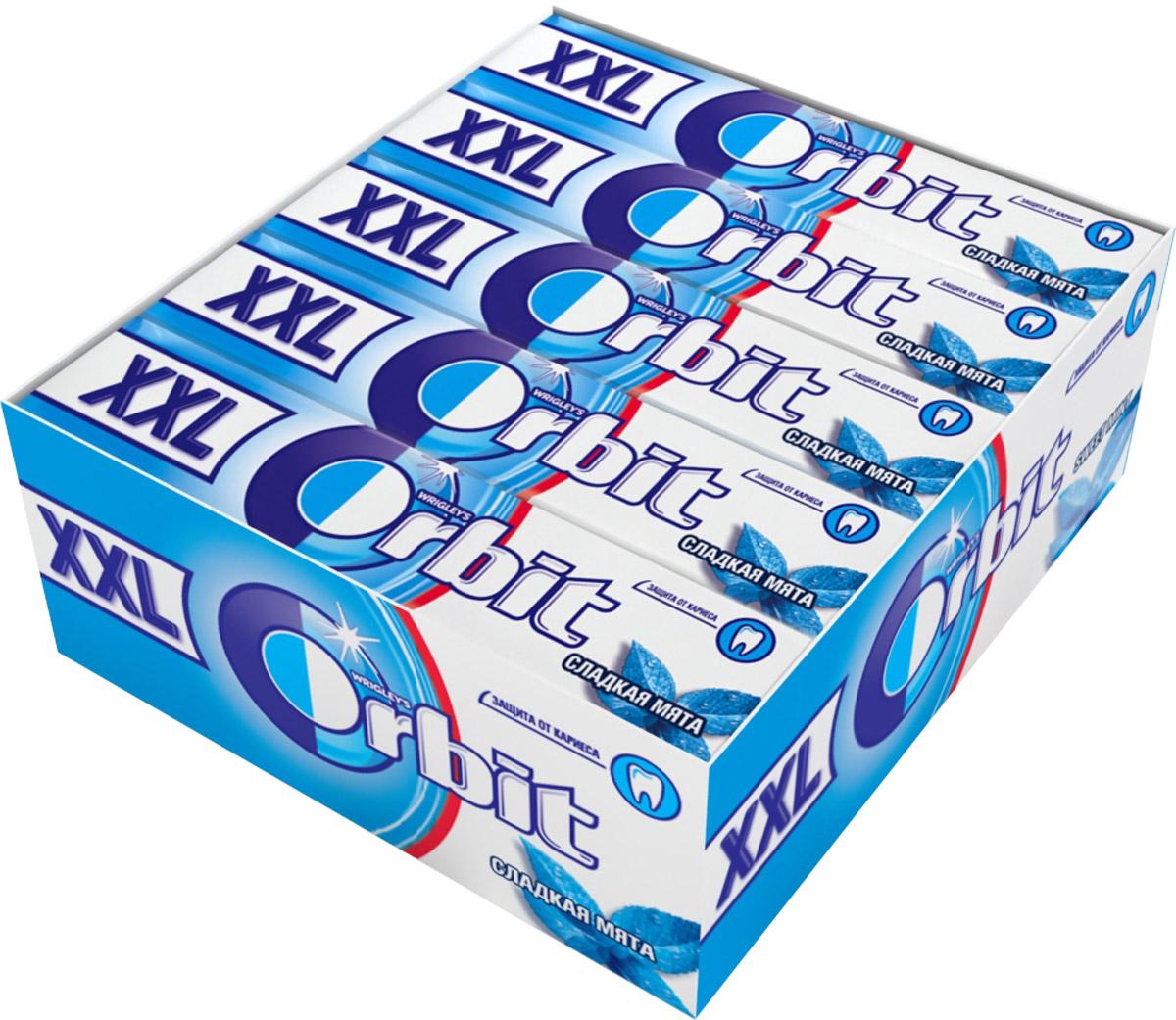 Orbit XXL Сладкая мята жевательная резинка без сахара, 20 пачек по 20,4 г orbit xxl white сочное яблоко жевательная резинка без сахара 20 пачек по 20 4 г