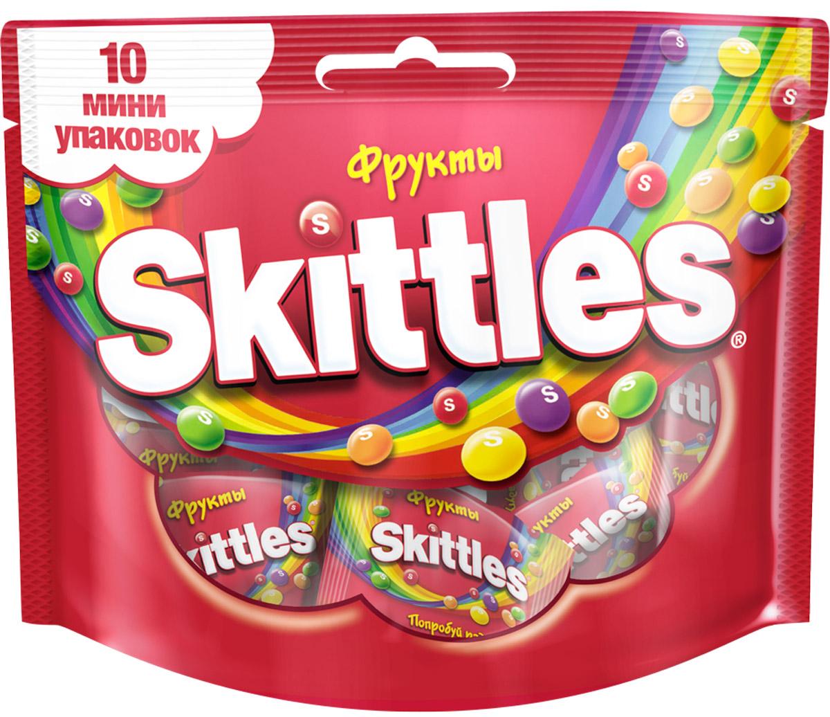 Skittles Фрукты драже в сахарной глазури, 10 пачек по 12 г4009900498135Жевательные конфеты Skittles c разноцветной глазурью предлагают радугу фруктовых вкусов в каждой упаковке!Конфеты с ароматами лимона, лайма, апельсина, клубники и черной смородины: заразитесь радугой, попробуйте радугу!