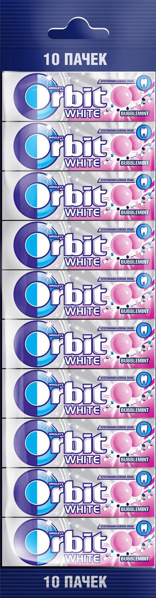 Orbit White Bubblemint жевательная резинка без сахара, 10 пачек по 13,6 г4009900503365Жевательная резинка Orbit Белоснежный Bubblemint без сахара способствует поддержанию здоровья зубов: удаляет остатки пищи, способствует уменьшению зубного налета, нейтрализует вредные кислоты, усиливает процесс реминерализации эмали. *Употребление жевательной резинки каждый раз после еды способствует поддержанию чистоты и здоровья зубов в дополнение к уходу за ротовой полостью с помощью зубной щетки