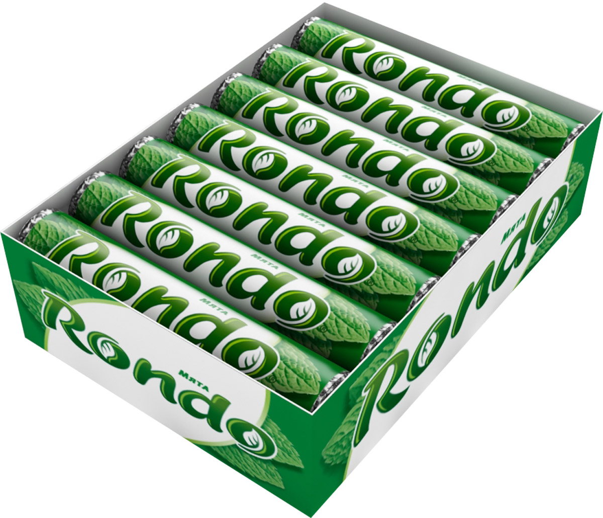 Rondo Мята освежающие конфеты, 14 пачек по 30 г5000159372824Конфеты Rondo с ароматом мяты освежают дыхание и делают день слаще! Уникальный продукт, созданный в 1996 году специально для российских потребителей, по-прежнему остается одним из любимых оружий против несвежего дыхания. Свежее дыхание облегчает понимание!Уважаемые клиенты! Обращаем ваше внимание, что полный перечень состава продукта представлен на дополнительном изображении.