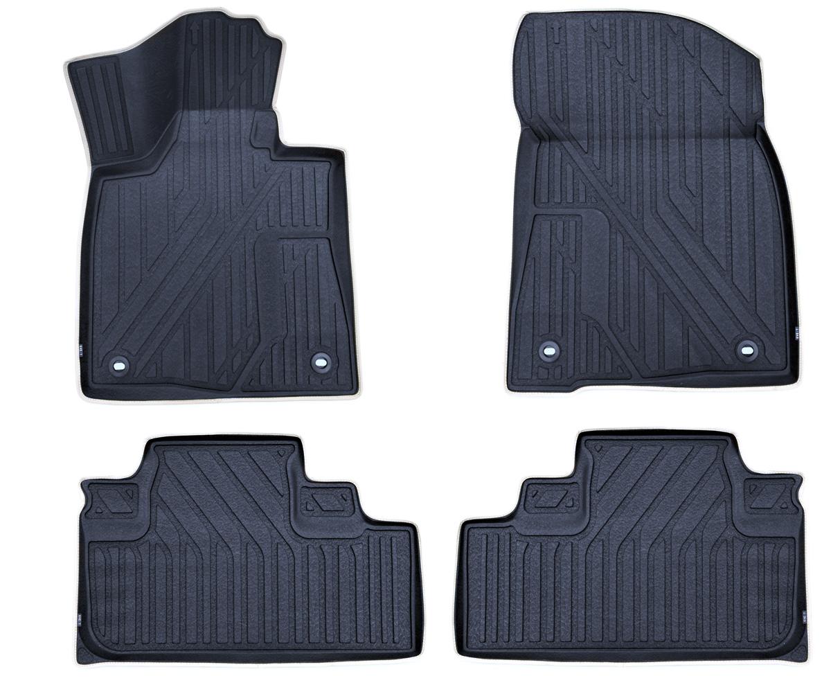 Набор автомобильных ковриков Kvest Премиум 3D, для Lexus RX 2015->, в салон, цвет: черный, 4 штKVESTLEX00001KНабор автомобильных ковриков Kvest 3D Премиум отвечает высочайшему уровню комфорта и максимальной степени безопасности. При производстве автомобильных ковриков Kvest используется полистар - инновационный материал. Легкие и вместе с тем прочные коврики из этого полимера обладает повышенной устойчивостью к истиранию; сохраняет свои свойства в широком диапазоне температур (от -50°С до +50°С). Коврики не имеют запаха и абсолютно безопасны для человека; экологичны и пригодны для вторичной переработки.Коврики Kvest идеально повторяют геометрию салона автомобиля. Площадка отдыха левой ноги полностью закрыта ковриком, а высокий борт защищает не только пол, но и другие элементы салона. Ваша обувь остается максимально защищенной от грязи, воды и соляной смеси на протяжении всего пути благодаря объемной текстуре изделия. С автомобильными ковриками Kvest вы сможете забыть о неблагоприятных внешних условиях и сосредоточиться только на управлении автомобилем. Коврики надежно прикреплены к полу штатными фиксаторами, а уникальная нескользящая поверхность препятствует их смещению. Коврики Kvest обеспечат водителю и пассажирам максимальное удобство. Тщательно подобранный цвет ковриков отлично гармонирует с цветом салона. Эффект шагреневой кожи добавляет экстравагантности и подчеркивает статус вашего автомобиля. Края ковриков аккуратно и бережно обшиты лентой и вносят дополнительные эксклюзивные штрихи. Динамику и законченный вид интерьеру придает эргономичная текстура. Коврики Kvest, безусловно, идеальное дополнение к вашему автомобилю.
