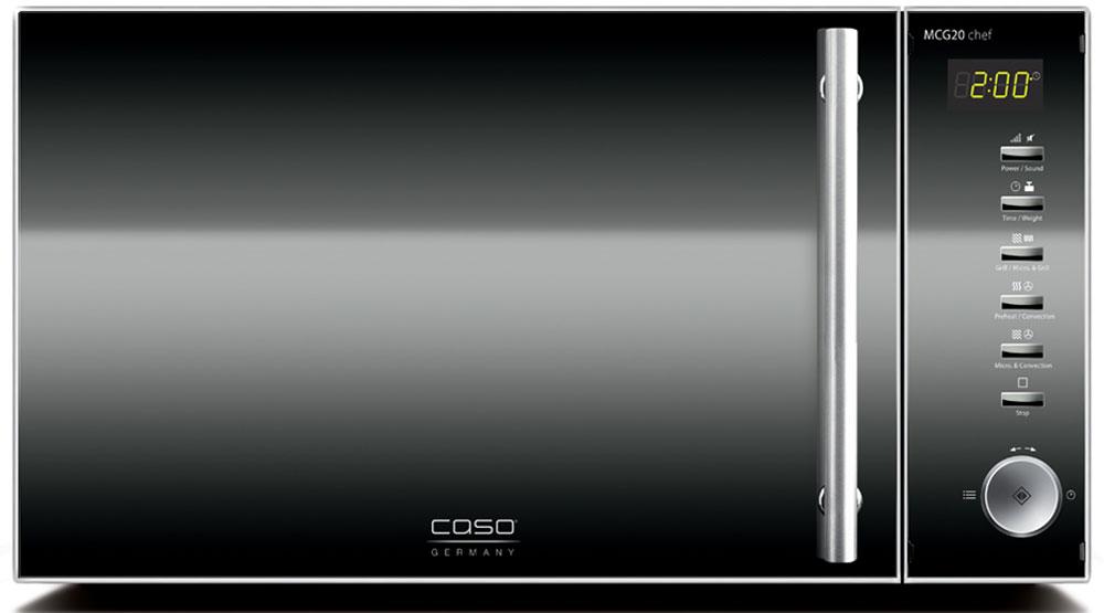 CASO MCG 20 ChefСВЧ-печьMCG 20 ChefCASO MCG 20 - стильная СВЧ-печь в оригинальном черно-серебристом корпусе. Зеркальная передняя панель подчеркивает изящество дизайна. Данная модель имеет внутреннее освещение и удобное электронное управление для максимально комфортной эксплуатации. Множество автоматических программ, а также таймер со звуковым сигналом также поможет быстро и просто приготовить то или иное блюдо.Автоматических программ: 16 Конвекция: 10 уровней, 110-200 °C Возможность отключения звукового сигнала Таймер: 95 мин