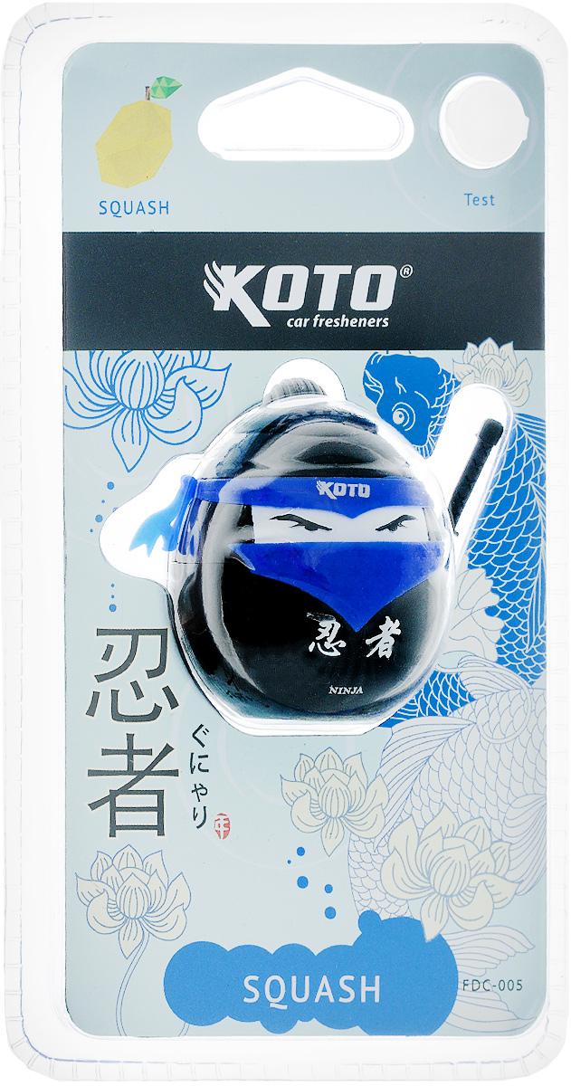 Ароматизатор автомобильный Koto Ниндзя. Squash, меловой, на дефлектор, 20 гFDC-005Автомобильный ароматизатор Koto Ниндзя. Squash эффективно устраняет неприятные запахи и придает приятный аромат. Сочетание мела с парфюмами наилучшего качества обеспечивает устойчивый запах. Кроме того, ароматизатор обладает элегантным дизайном. Благодаря специальной конструкции, изделие крепится на дефлектор.
