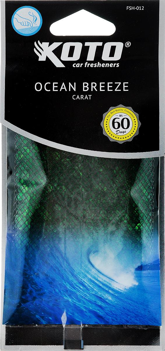 Ароматизатор автомобильный Koto Carat. Ocean breeze, гелевый, под сиденьеFSH-012Автомобильный ароматизатор Koto Carat. Ocean breeze эффективно устраняет неприятные запахи и придает легкий приятный аромат. Сочетание геля с парфюмами наилучшего качества обеспечивает устойчивый запах. Кроме того, ароматизатор обладает элегантным дизайном, поэтому будет гармонично смотреться в салоне любого автомобиля. Благодаря удобной конструкции, его можно положить под сиденье. Ароматизатор имеет продолжительный срок службы - до 60 дней. Его можно использовать не только в автомобиле, но и в домашних условиях.