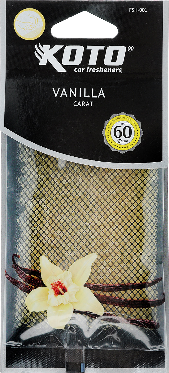 Ароматизатор автомобильный Koto Carat. Vanilla, гелевый, под сиденьеFSH-001Автомобильный ароматизатор Koto Carat. Vanilla эффективно устраняет неприятные запахи и придает легкий приятный аромат. Сочетание геля с парфюмами наилучшего качества обеспечивает устойчивый запах. Кроме того, ароматизатор обладает элегантным дизайном, поэтому будет гармонично смотреться в салоне любого автомобиля. Благодаря удобной конструкции, его можно положить под сиденье. Ароматизатор имеет продолжительный срок службы - до 60 дней. Его можно использовать не только в автомобиле, но и в домашних условиях.